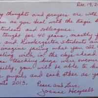 Embracing Newtown Volunteer Favorite Letters 235